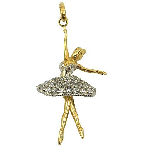 Pingente de Bailarina em Ouro Branco e Amarelo com Zircônia