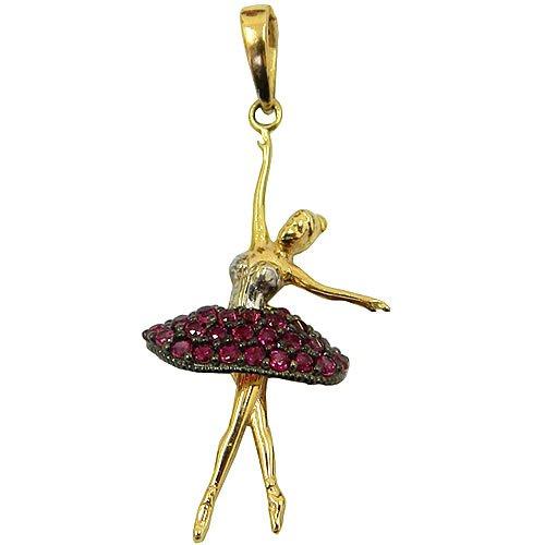Pingente Bailarina em Ouro Branco e Amarelo com Zircônia Vermelha