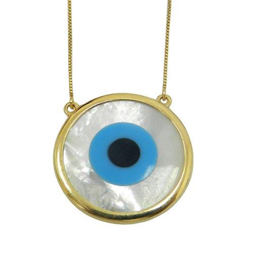 Gargantilha em Ouro 18k Olho Grego com 60 cm