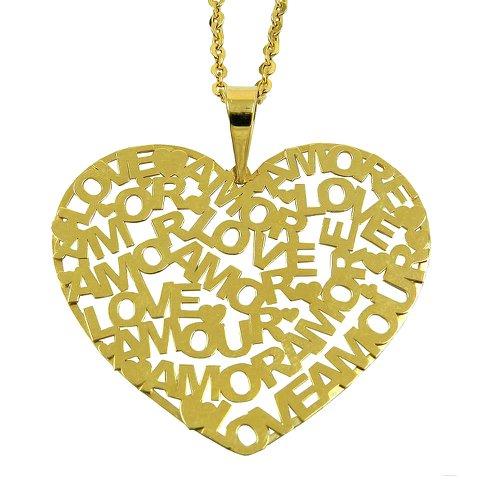 Pingente Coração Vazado Grande em Ouro 18K