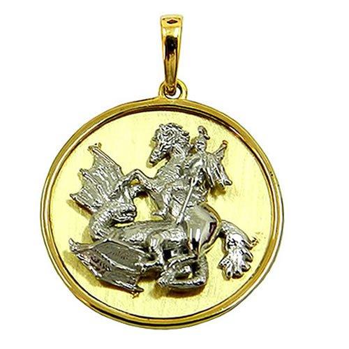 Medalha de São Jorge em Ouro Branco e Amarelo 18K alto relevo