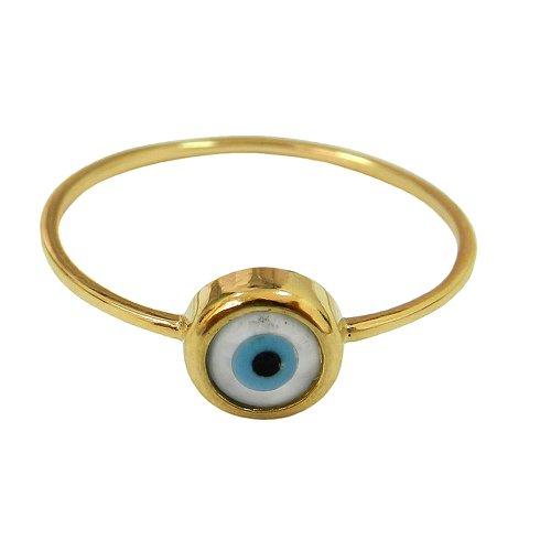 Anel Olho Grego de Ouro 18K 0,750