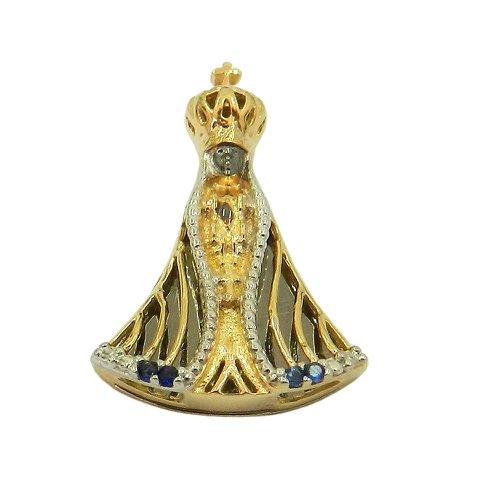 Pingente de N. Sra. Aparecida em Ouro 18k com Safiras Azuis