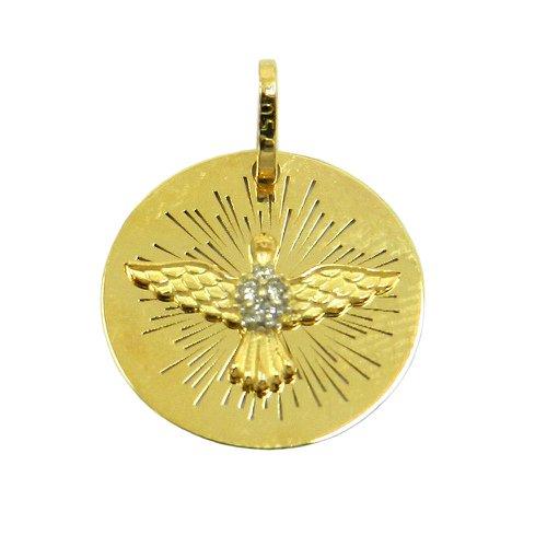 Pingente em Ouro 18k Pomba do Espirito Santo com 4 Brilhantes