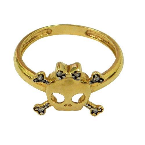Anel de Ouro 18k Caveira com Brilhantes
