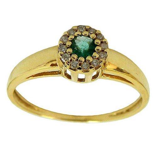 Anel Chuveiro de Ouro cravejado com Esmeralda e Diamantes
