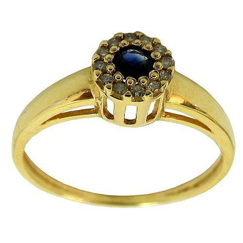 Anel Chuveiro de Ouro com Safira Azul e Diamantes