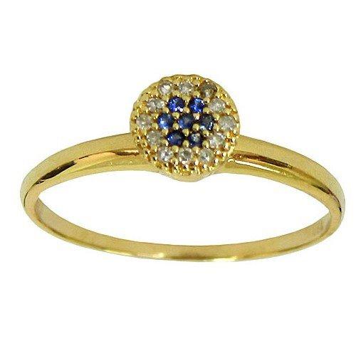 Anel modelo Chuveiro de Ouro com Brilhantes e Safiras