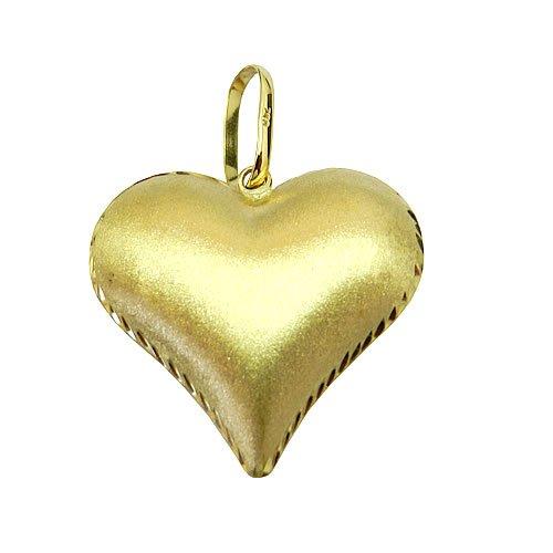Pingente de Coração dupla face em Ouro 18k Polido e Fosco