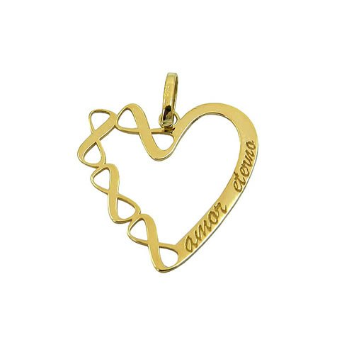 Pingente de Coração Amor Eterno em Ouro 18k