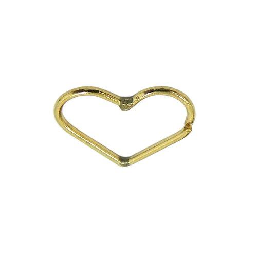 Piercing em Ouro 18k Argola Coração Vazado