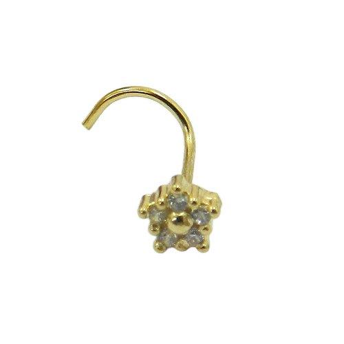 Piercing de Nariz em Ouro 18k Flor com Zircônias