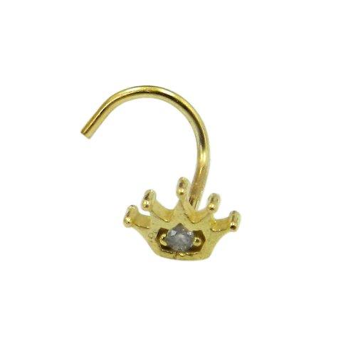 Piercing de Nariz em Ouro 18k Coroa com Zircônia