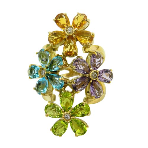Anel em Ouro 18k Flores com Pedras Brasileiras e Brilhantes