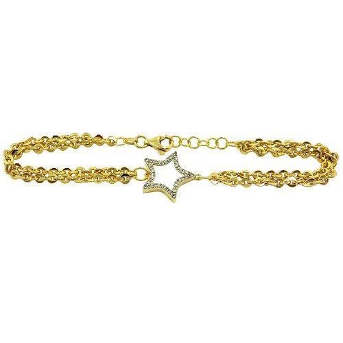 Pulseira Estrela em Ouro Branco e Amarelo com brilhantes