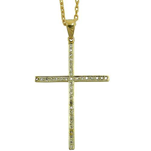 Crucifixo Grande em Ouro 18K cravejado com Brilhantes