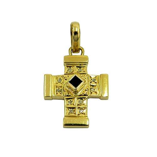 Crucifixo de Ouro com Brilhantes e Safira Azul