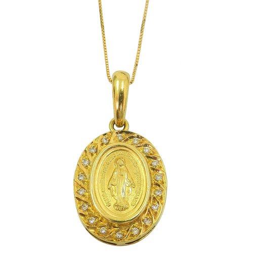 Gargantilha em Ouro 18k Maria Concebida Sem Pecados com Brilhantes