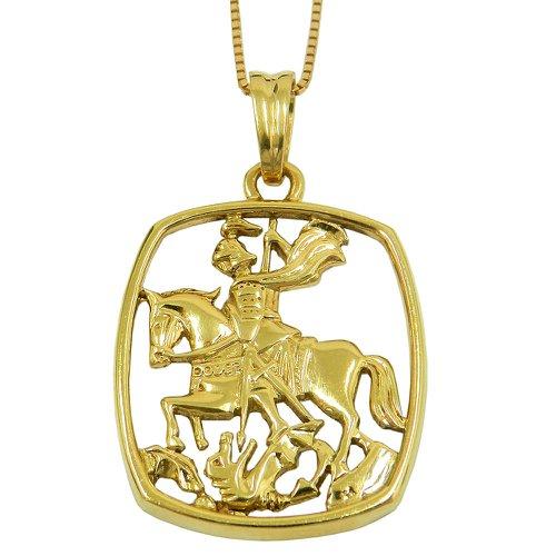 Pingente em ouro 18k Quadrado São Jorge