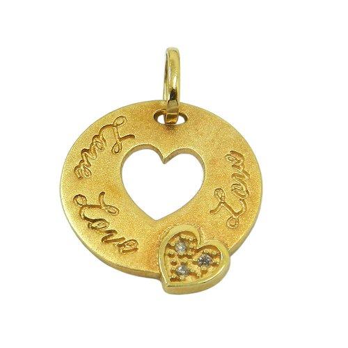Pingente em ouro 18k Coração Love com Brilhantes