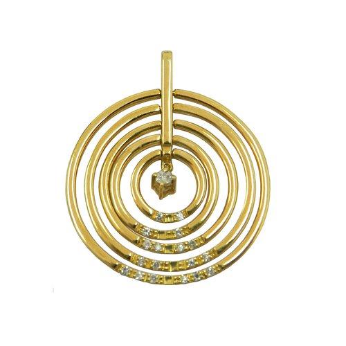 Pingente em ouro 18k Mandala Circulos Flexíveis com Brilhantes