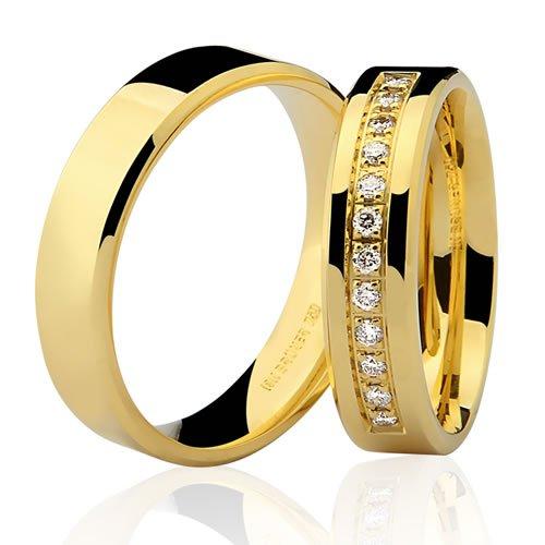 Aliança de Casamento Anatômica em Ouro 18K Retangular