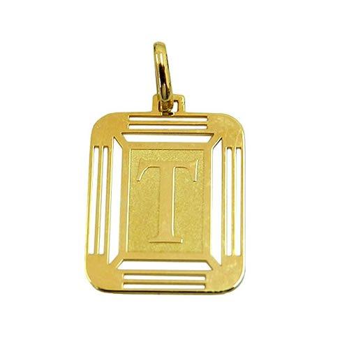 Medalha Pingente de Ouro com Letra T