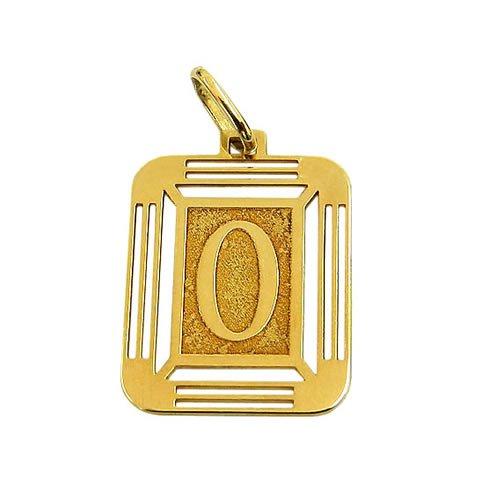 Pingente Letra O Quadrado em Ouro 18K