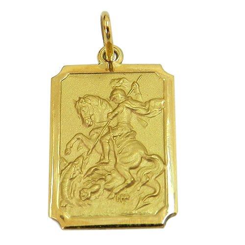 Medalha de São Jorge em Ouro 18K Retangular