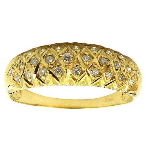 Anel Banana em Ouro 18K 0750 cravejado com 28 Diamantes