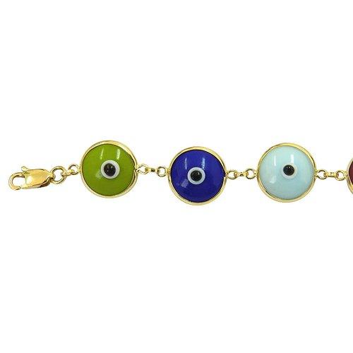 Pulseira de Olho Grego em Ouro 18k Colorida