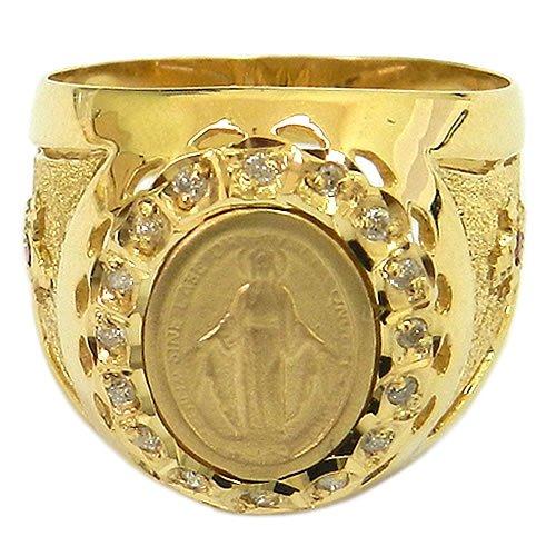 Anel Nossa Senhora das Graças em Ouro com 16 Brilhantes e 2 Rubis