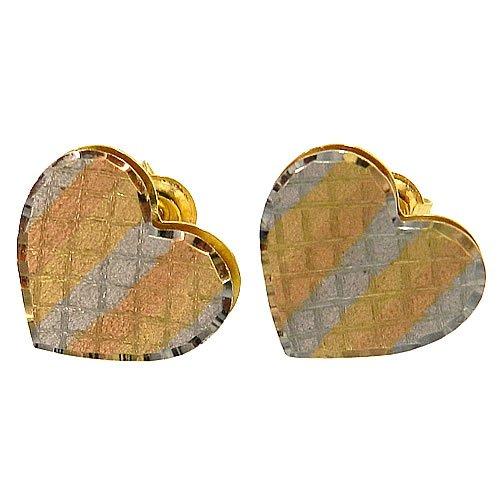 Brinco de Coração em Ouro 18K Tricolor