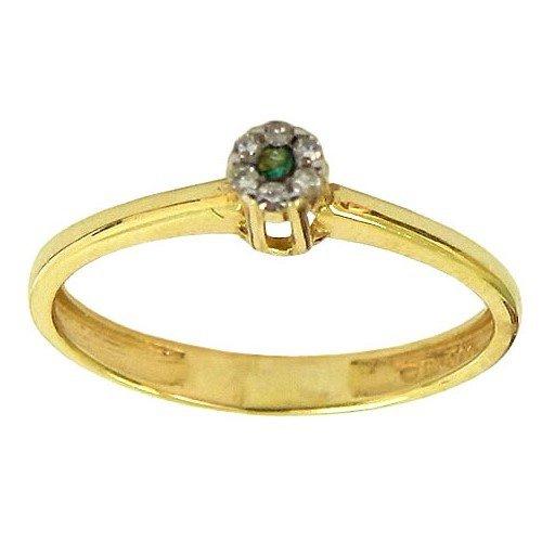 Anéis Femininos em Ouro 18K com Diamantes e Esmeralda