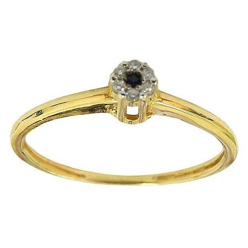 Anéis Femininos de Ouro 18K 0750 com Brilhantes e Safira