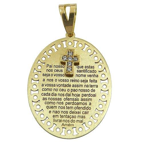 Medalha Oração do Pai Nosso de Ouro 18K com Cruz de Zircônias