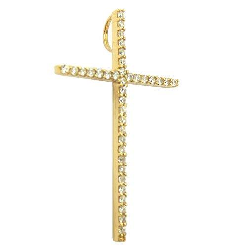 Pingente Cruz de Ouro 18K cravejada com Zircônias Grande