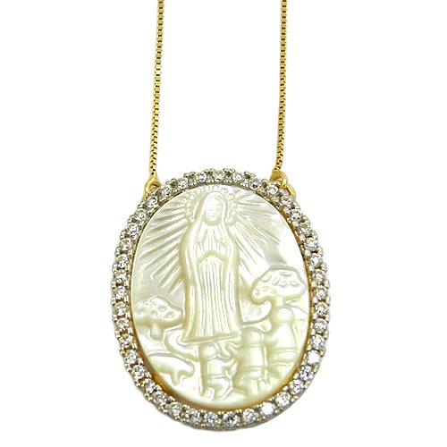 Gargantilha Nossa Senhora de Fátima em Ouro 18k e Zircônias