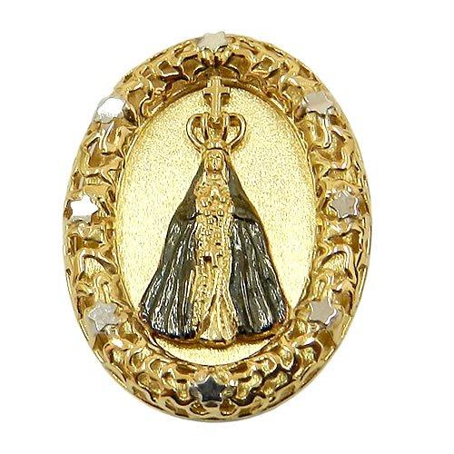 Medalha de Nossa Senhora Aparecida em Ouro Branco e Ouro Amarelo