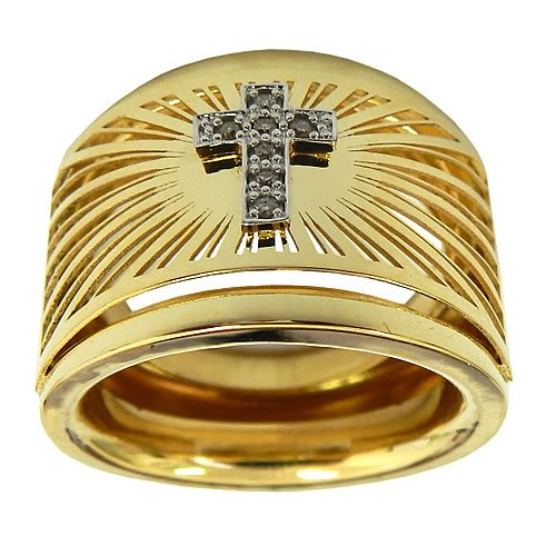 Anel de Cruz em Ouro 18K com 7 Brilhantes