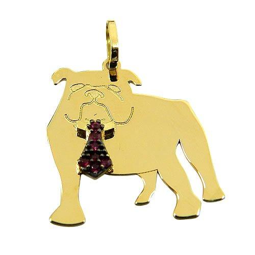 Pingente de Bulldog Ouro 18K cravejado com Rubis