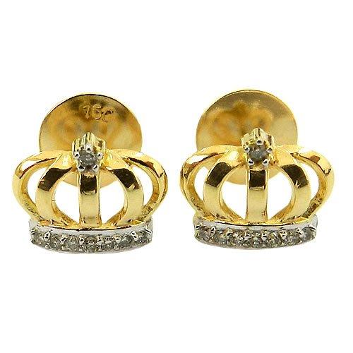Brinco Coroa de Princesa em Ouro 18K com 16 Brilhantes