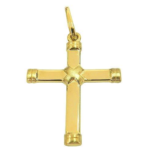 Pingente Cruz de Ouro 18K Polido e Fosco