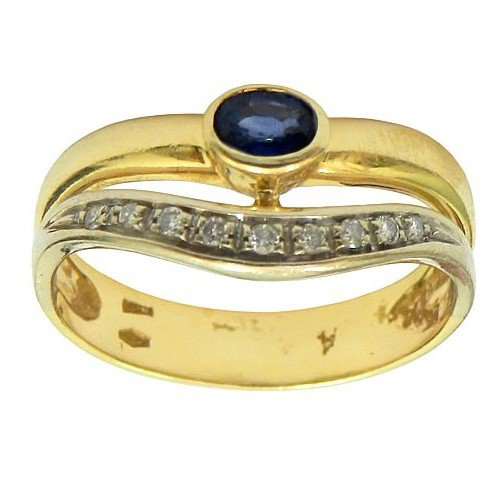 Anel em Ouro 18K cravejado com Brilhantes e Safira Azul