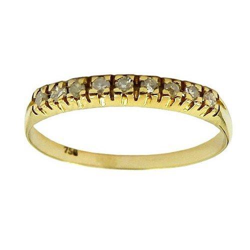 Meia Aliança de Ouro 18K com Diamantes