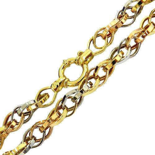 Cordão Feminino de Ouro Branco, Amarelo e Rosê 45cm