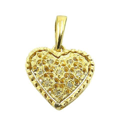 Pingente de Coração Diamantado em Ouro 18K com Brilhantes