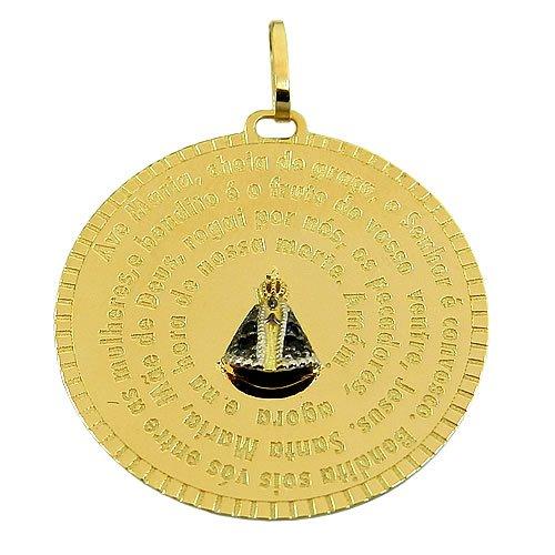 Medalha Oração Ave Maria em Ouro 18K com Safiras