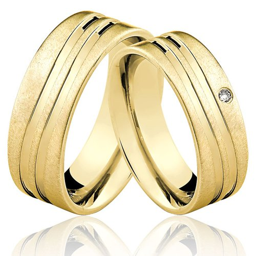 Alianças de Ouro 18k/750 com Diamante AL49