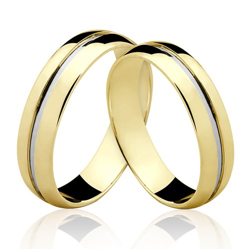 Alianças de Ouro 18k/750 Com Filete de Ouro Branco AL115